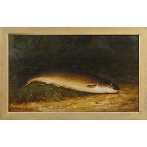 Walter M. Brackett  (American, 1823-1919)      Brown Trout with Fly.