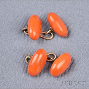 Antique Coral Cuff Links