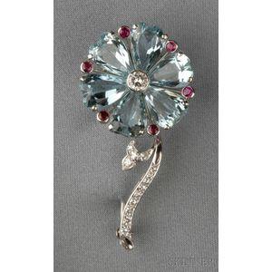 Platinum, Aquamarine, and Diamond Flower Brooch