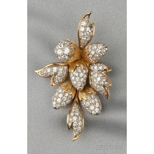 18kt Gold and Platinum and Diamond Brooch