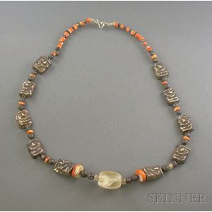 Pre-Columbian Shell and Silver Necklace