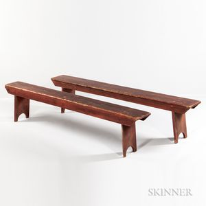 Pair of Red-painted Schoolhouse Benches