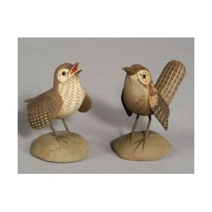 Pair of  Miniature Carved and Painted Rock Wrens