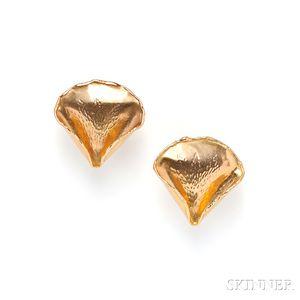 18kt Gold Rose Petal Earclips, Angela Cummings