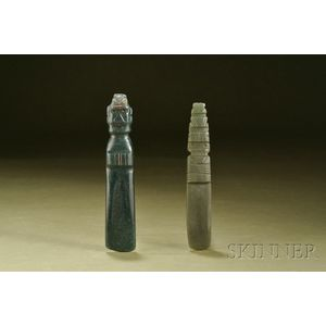 Two Pre-Columbian Carved Jade Celts