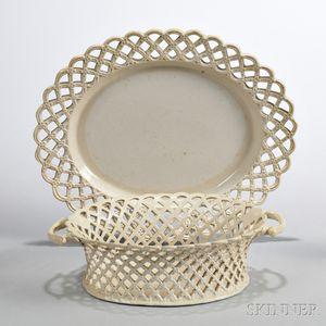 White Salt-glazed Stoneware Dessert Basket and Stand