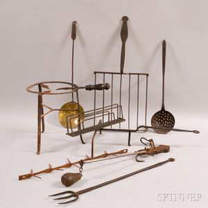 Eight Mostly Wrought Iron Domestic Items