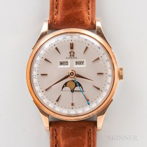 Unusual Omega Reference 2606 Triple Calendar with Moon Phase Wristwatch...