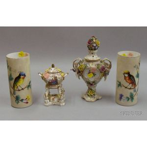 Two Porcelain and a Pair of Hand-painted Vases
