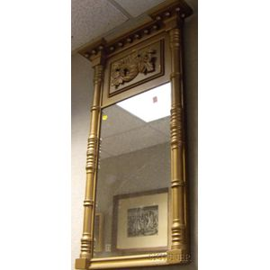 Gold-painted Classical Wooden Tabernacle Mirror with Cornucopia Frieze