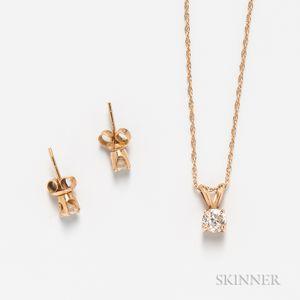 Diamond Pendant and Earstuds