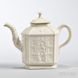 White Salt-glazed Stoneware Mansion Teapot and Cover