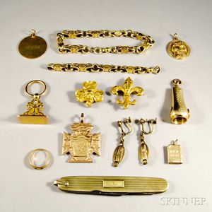 Group of Mostly 14kt Gold Jewelry and Accessories