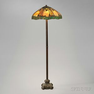 Handel Lamp Co. Floor Lamp with Pine Woods Sunset Shade