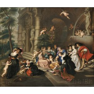 "KPM Porcelain Plaque Depicting ""The Garden of Love,"""