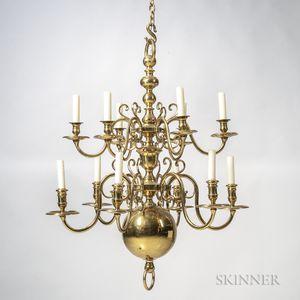 Twelve-light Brass Chandelier