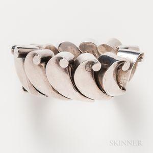 """Antonio Pineda Mexican Silver """"Wave"""" Bracelet"""