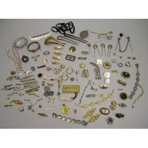 Group of Victorian and Period Jewelry, Findings, and Accessories.