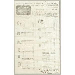 Framed E. & L.P. Norton   Stoneware Bill of Sale