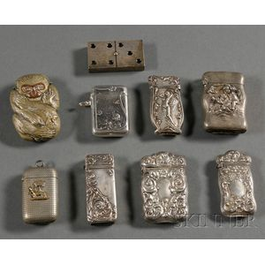 Nine Sterling and Silver Plate Matchsafes