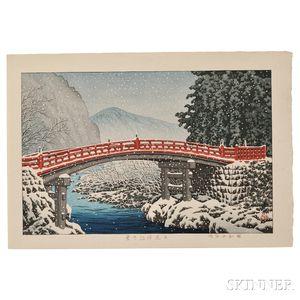 Kawase Hasui (1883-1957), Snow at Shinkyo Bridge, Nikko
