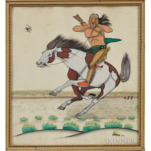 Painting The Attack   by Quincy Tahoma (Navajo, 1921-1956)