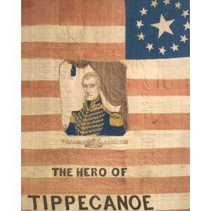 William Henry Harrison Polychrome Silk Campaign Banner