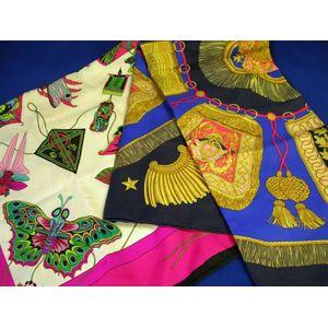 Two Hermes Silk Scarves.