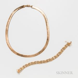 14kt Gold Necklace and Bracelet