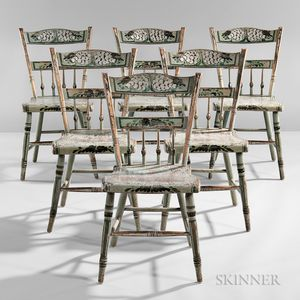 Set of Six Light Blue-painted, Silver- and Gilt-stenciled, and Paint-decorated Tablet-back Side Chairs