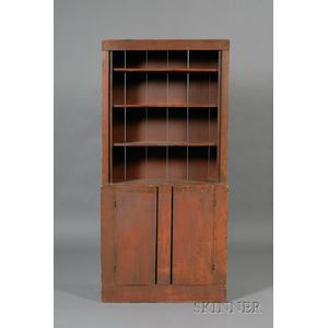 Poplar and Sycamore Red-painted Step-back Cupboard