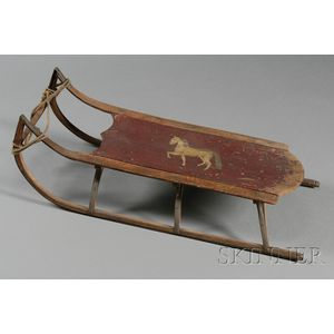 Painted Wooden Sled with Horse Figure