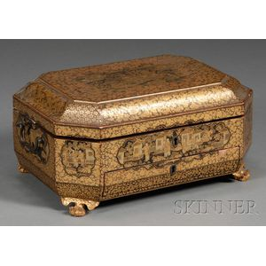 Chinese Gilt Lacquer Sewing Box with Ivory Sewing Implements