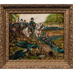 American School, Late 19th Century      Civil War Battle Scene