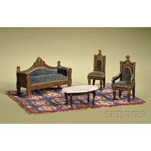 Four-Piece Assembled Miniature Waltershausen Parlor Suite