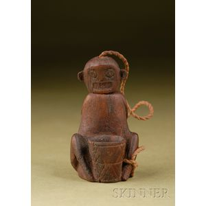 Pre-Columbian Carved Wood Lime Container