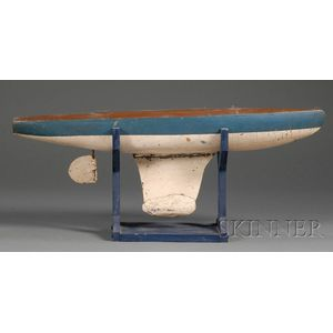 Blue and White Painted Pond Boat Model