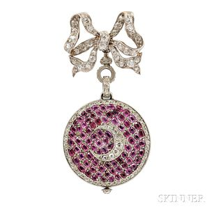 Cartier Platinum, Diamond, and Ruby Pendant Watch