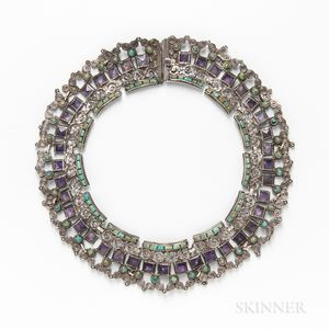 Patino Sterling Silver, Amethyst, and Turquoise Collar