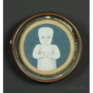 Potrait Miniature of a Child in White Holding a Rattle