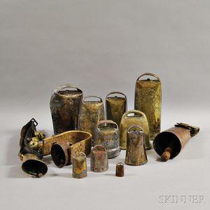 Thirteen Assorted Metal Bells.     Estimate $200-300