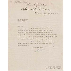Edison, Thomas Alva (1847-1931) Typed Letter Signed, Orange, New Jersey, 14 February 1914.