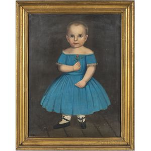 American School, 19th Century      Portrait of a Boy in a Blue Dress