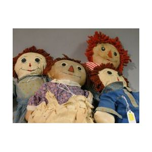 Five Raggedy Ann and Andy Dolls