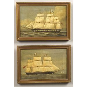 Anglo School, 19th Century  Two Portraits of British Merchant Ships.