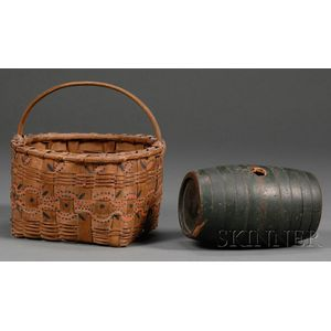 Freehand Painted Indian-made Basket and a Green-painted Rum Keg