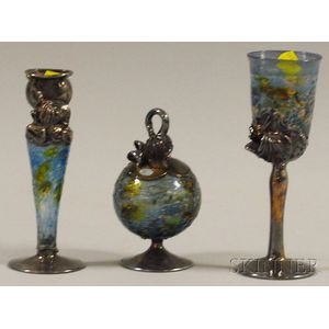 Three Pieces of Israeli Hand-blown Glass and Silver Overlay Havdalah Set