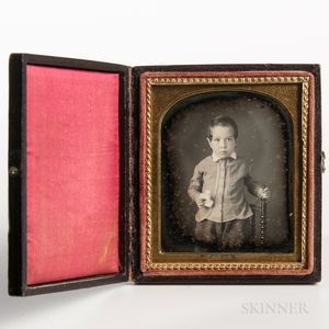 Sixth-plate Tinted Daguerreotype of a Little Boy on a Spindle-turned Chair