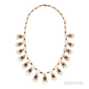 Gold, Sapphire, and Pearl Necklace