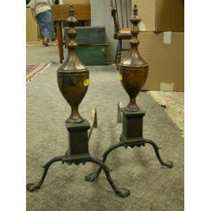 Pair of Bronze Urn-form Andirons.